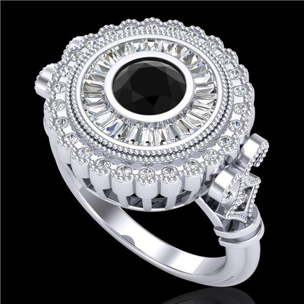 2.03 ctw Fancy Black Diamond Engagment Art Deco Ring 18k White Gold - REF-203G6W