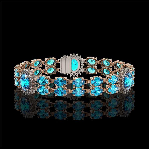19.3 ctw Swiss Topaz & Diamond Bracelet 14K Rose Gold - REF-254A5N