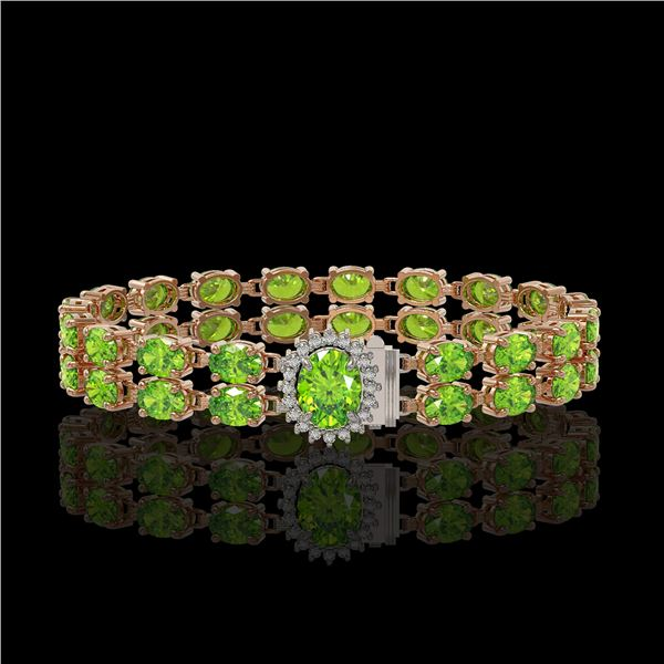 17.26 ctw Peridot & Diamond Bracelet 14K Rose Gold - REF-263K6Y