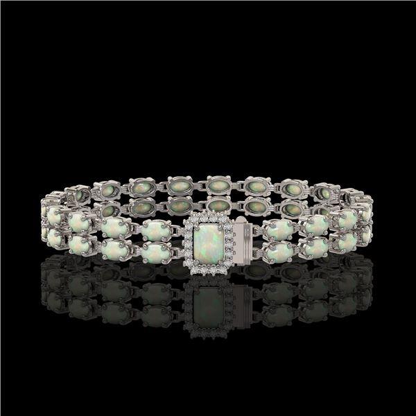 13.48 ctw Opal & Diamond Bracelet 14K White Gold - REF-236X4A
