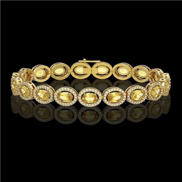 12.73 ctw Fancy Citrine & Diamond Micro Pave Halo Bracelet 10k Yellow Gold - REF-263G6W
