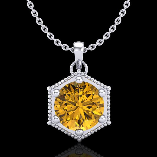 0.82 ctw Intense Fancy Yellow Diamond Art Deco Necklace 18k White Gold - REF-218K2Y