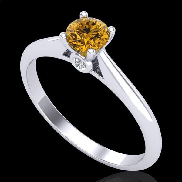 0.40 ctw Intense Fancy Yellow Diamond Art Deco Ring 18k White Gold - REF-60W2H