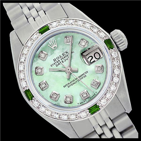 Rolex Ladies Stainless Steel, Diam Dial & Diam/Emerald Bezel, Sapphire Crystal