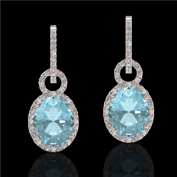 6 ctw Aquamarine & Micro Pave VS/SI Diamond Earrings 14k Rose Gold - REF-125N5F