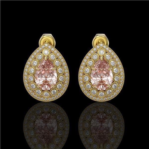 7.94 ctw Morganite & Diamond Victorian Earrings 14K Yellow Gold - REF-339F5M