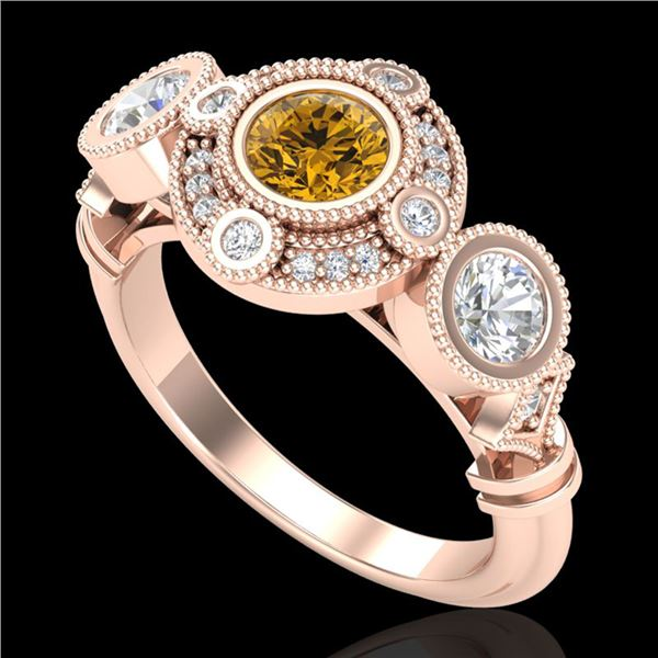1.51 ctw Intense Fancy Yellow Diamond Art Deco Ring 18k Rose Gold - REF-218Y2X