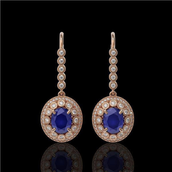 9.25 ctw Certified Sapphire & Diamond Victorian Earrings 14K Rose Gold - REF-243M5G