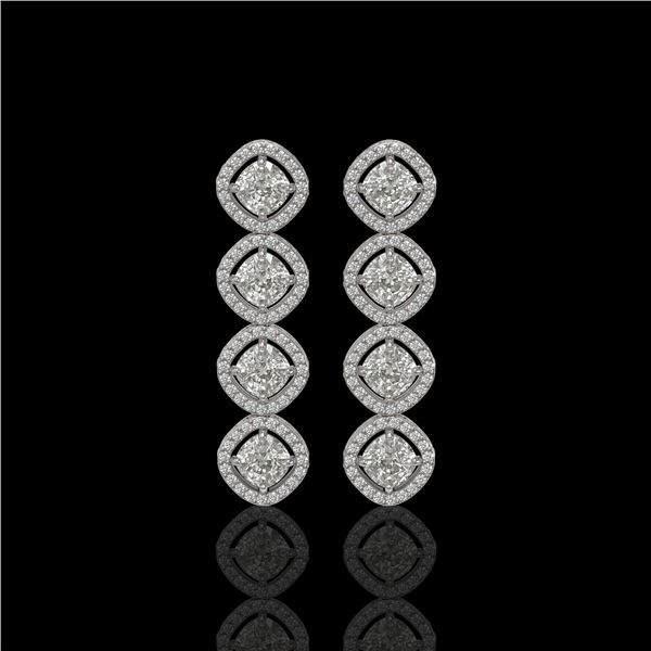 5.28 ctw Cushion Cut Diamond Micro Pave Earrings 18K White Gold - REF-736W2H