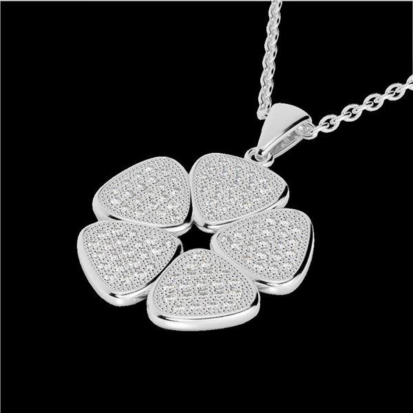 0.80 ctw Micro Pave VS/SI Diamond Designer Necklace 14k White Gold - REF-85X5A