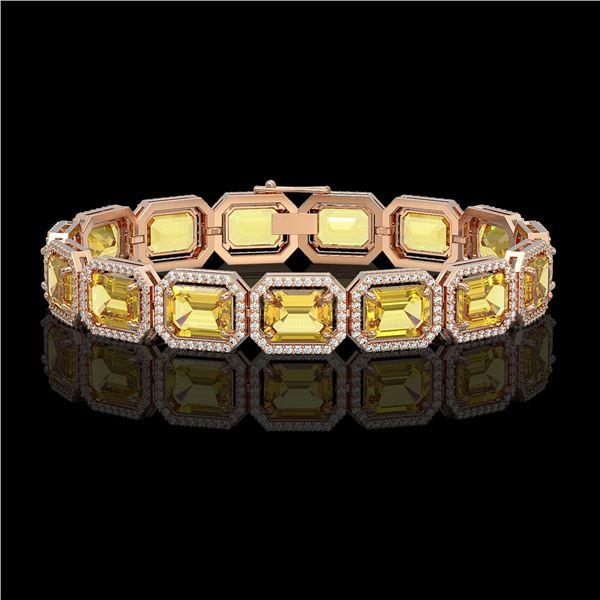 34.91 ctw Fancy Citrine & Diamond Micro Pave Halo Bracelet 10k Rose Gold - REF-336Y4X