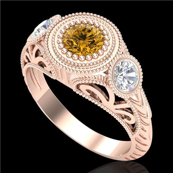 1.06 ctw Intense Fancy Yellow Diamond Art Deco Ring 18k Rose Gold - REF-154N5F