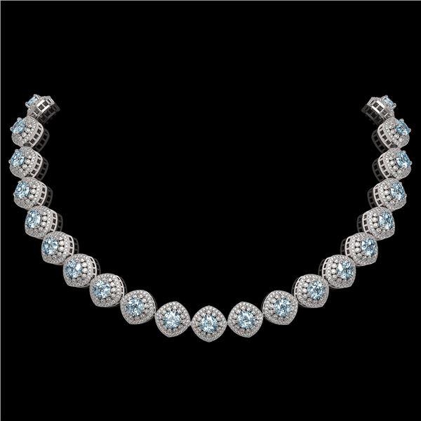 72.27 ctw Aquamarine & Diamond Victorian Necklace 14K White Gold - REF-1800K2Y