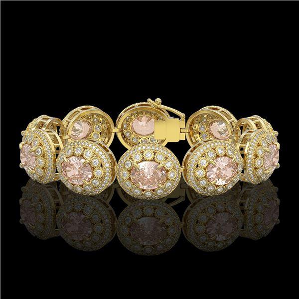 40.92 ctw Morganite & Diamond Victorian Bracelet 14K Yellow Gold - REF-1709F3M