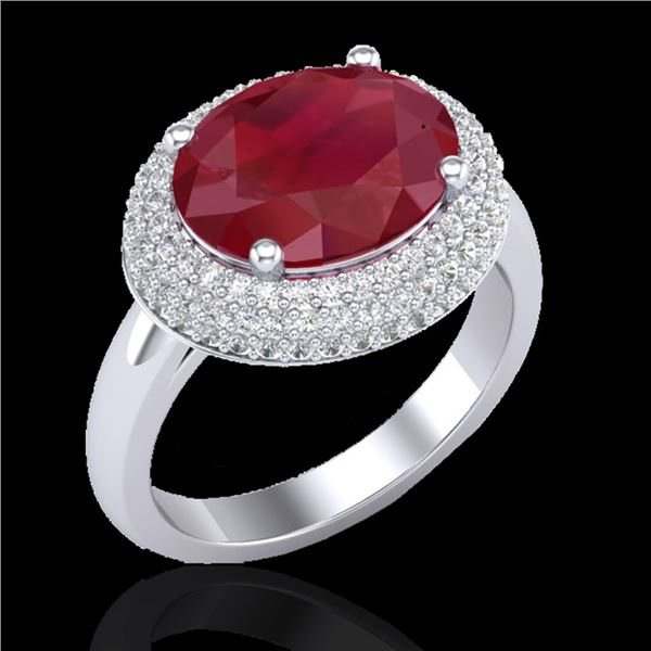 4.50 ctw Ruby & Micro Pave VS/SI Diamond Certified Ring 18k White Gold - REF-119N6F