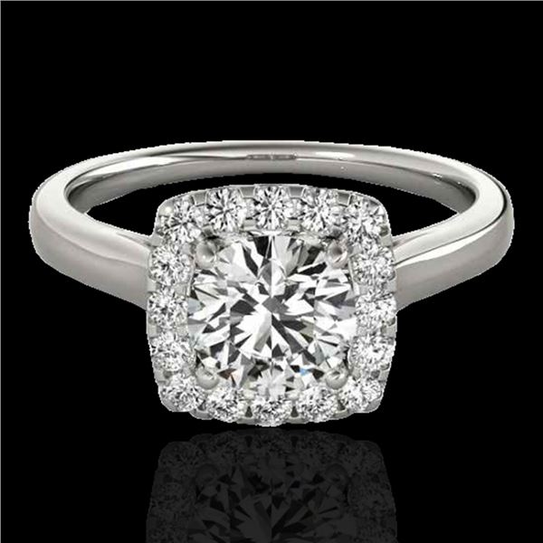 1.37 ctw Certified Diamond Solitaire Halo Ring 10k White Gold - REF-197X8A