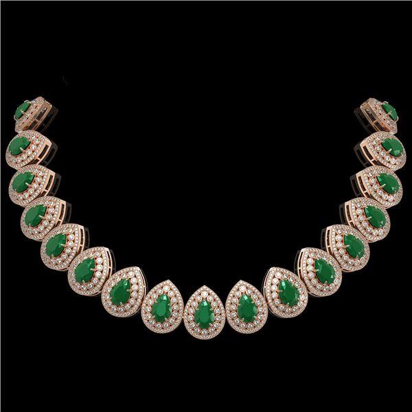 121.42 ctw Emerald & Diamond Victorian Necklace 14K Rose Gold - REF-3909G3W