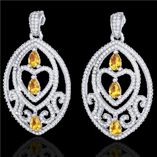 7 ctw Yellow Sapphire & Diamond Heart Earrings 18k White Gold - REF-418W2H