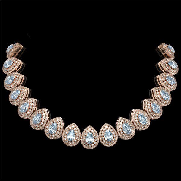 92.83 ctw Aquamarine & Diamond Victorian Necklace 14K Rose Gold - REF-3851M5G