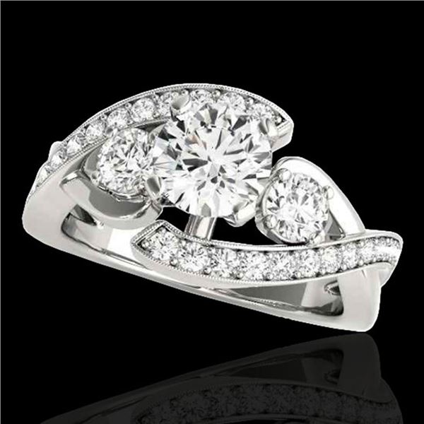 1.76 ctw Certified Diamond Bypass Solitaire Ring 10k White Gold - REF-238A6N