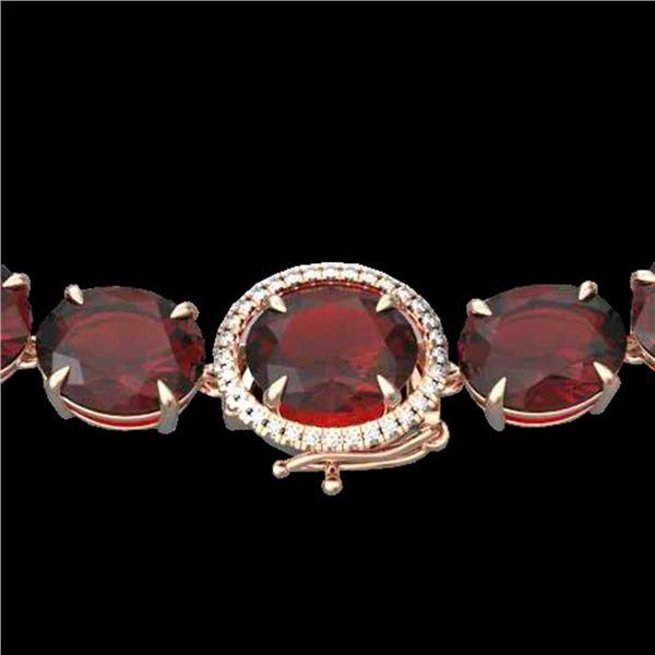 145 ctw Garnet & Diamond Micro Eternity Necklace 14k Rose Gold - REF-455M6G