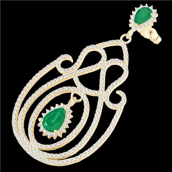 6.40 ctw Emerald & Micro Pave VS/SI Diamond Earrings 14k Yellow Gold - REF-381N8F