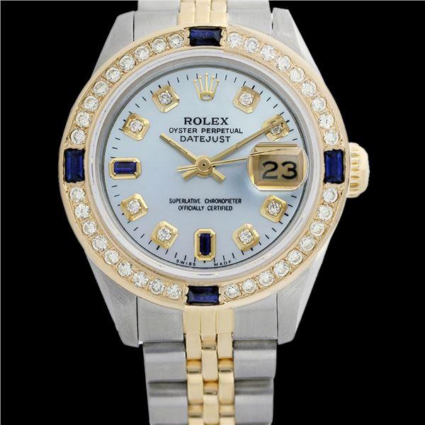 Rolex Men's Two Tone 14K Gold/SS, QuickSet, Diam/Sapphire Dial & Diam Bezel