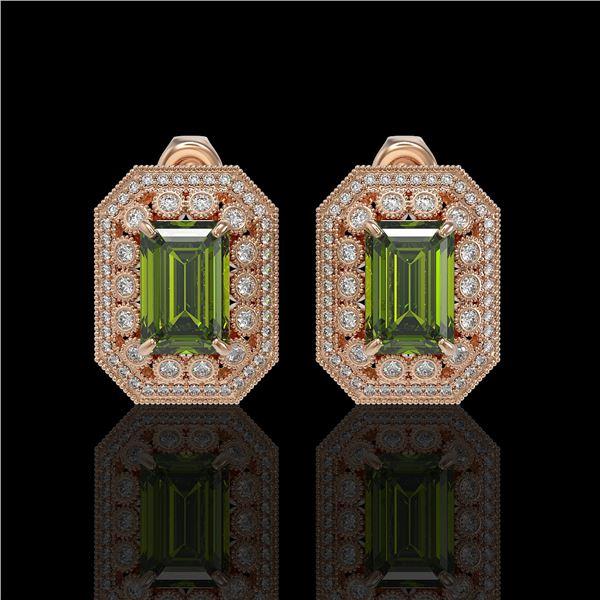 12.99 ctw Tourmaline & Diamond Victorian Earrings 14K Rose Gold - REF-346R2K