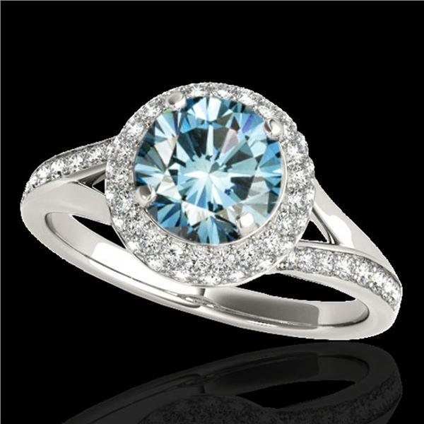 1.85 ctw SI Certified Fancy Blue Diamond Halo Ring 10k White Gold - REF-163R6K