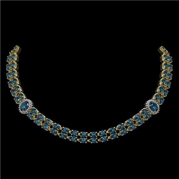 39.28 ctw London Topaz & Diamond Necklace 14K Yellow Gold - REF-454X5A