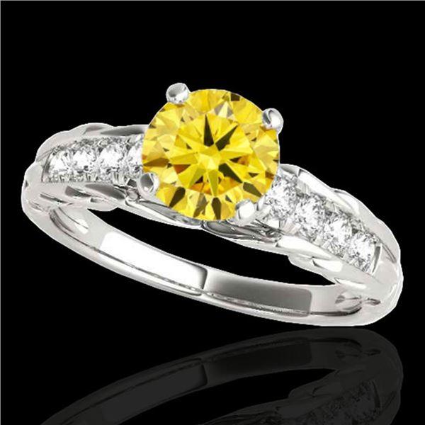 1.2 ctw Certified SI/I Fancy Intense Yellow Diamond Ring 10k White Gold - REF-197A8N