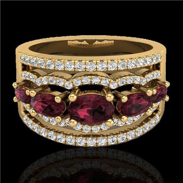 2.25 ctw Garnet & Micro Pave VS/SI Diamond Designer Ring 10k Yellow Gold - REF-81X8A