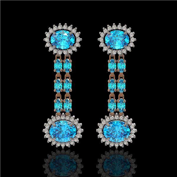 9.85 ctw Swiss Topaz & Diamond Earrings 14K Rose Gold - REF-145Y3X