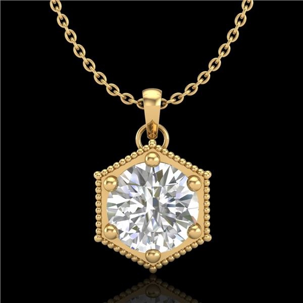 0.82 ctw VS/SI Diamond Solitaire Art Deco Stud Necklace 18k Yellow Gold - REF-218A2N