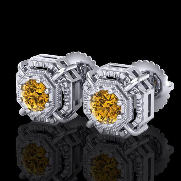 1.11 ctw Intense Fancy Yellow Diamond Art Deco Earrings 18k White Gold - REF-158K2Y