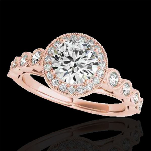 1.50 ctw Certified Diamond Solitaire Halo Ring 10k Rose Gold - REF-204N5F