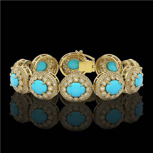 38.17 ctw Turquoise & Diamond Victorian Bracelet 14K Yellow Gold - REF-1179N3F