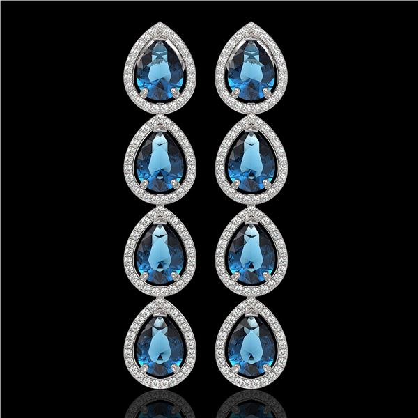 11.2 ctw London Topaz & Diamond Micro Pave Halo Earrings 10k White Gold - REF-172R8K