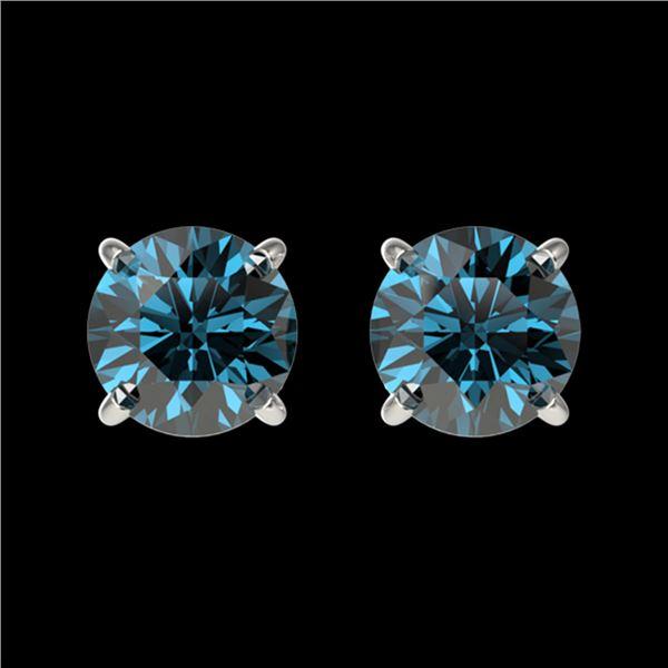 1 ctw Certified Intense Blue Diamond Stud Earrings 10k White Gold - REF-71N2F
