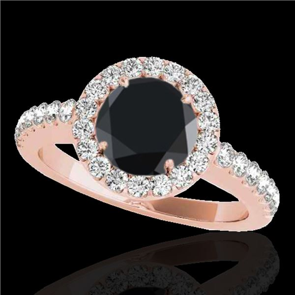 1.65 ctw Certified VS Black Diamond Solitaire Halo Ring 10k Rose Gold - REF-60F3M