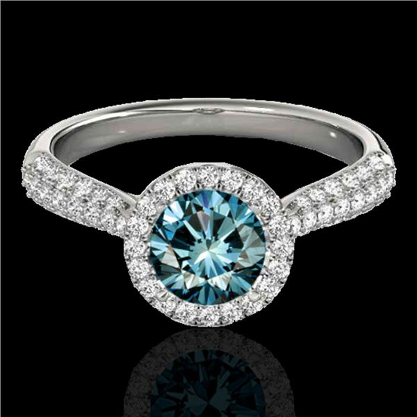 1.40 ctw SI Certified Fancy Blue Diamond Solitaire Halo Ring 10k White Gold - REF-127N8F