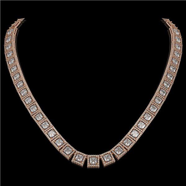 36.30 ctw Princess Cut Diamond Micro Pave Necklace 18K Rose Gold - REF-4704K5Y