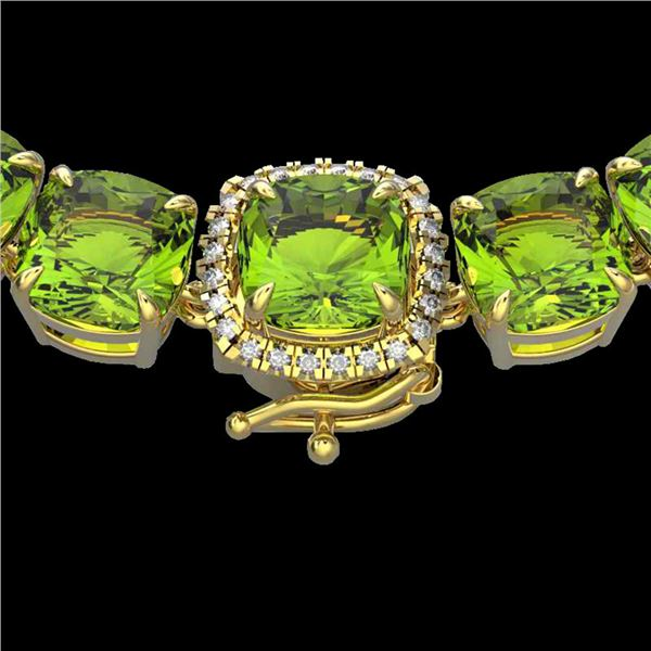 100 ctw Peridot & VS/SI Diamond Halo Micro Necklace 14k Yellow Gold - REF-528N9F