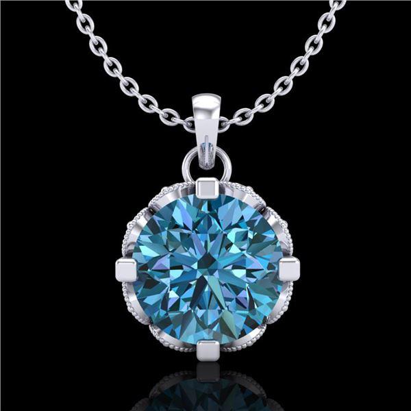 1.5 ctw Fancy Intense Blue Diamond Art Deco Necklace 18k White Gold - REF-172Y8X