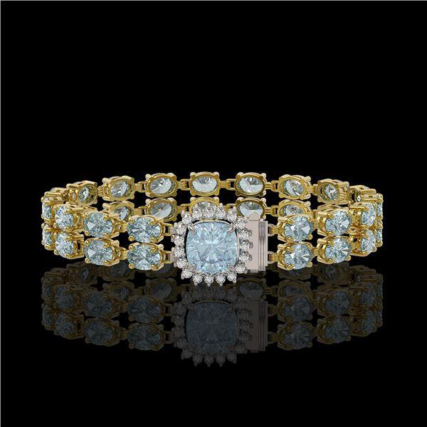 17.67 ctw Sky Topaz & Diamond Bracelet 14K Yellow Gold - REF-178R2K