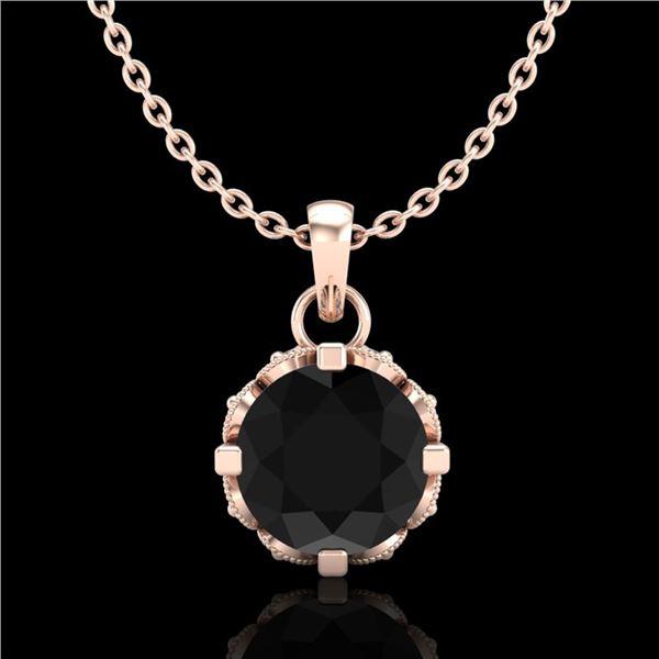 0.85 ctw Fancy Black Diamond Art Deco Stud Necklace 18k Rose Gold - REF-81G8W