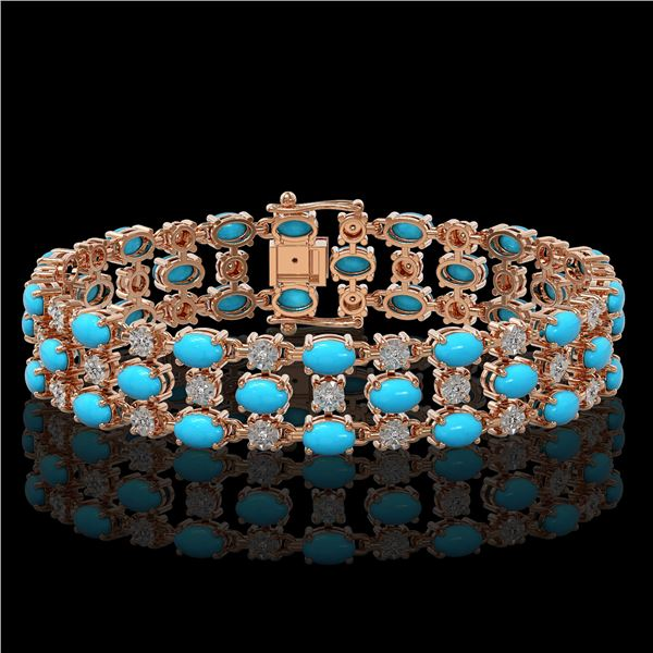 11.86 ctw Turquoise & Diamond Row Bracelet 10K Rose Gold - REF-209G3W