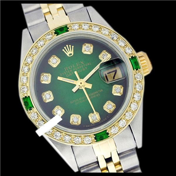 Rolex Ladies Two Tone 14K Gold/SS, Diam Dial & Diam/Emerald Bezel, Sapphire Crystal