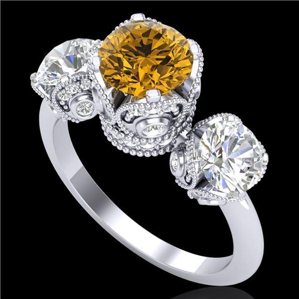 3 ctw Intense Yellow Diamond Art Deco 3 Stone Ring 18k White Gold - REF-470G9W