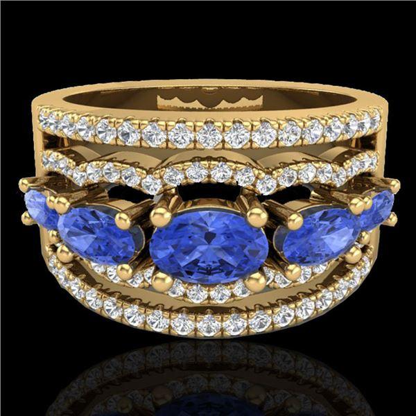 2.25 ctw Tanzanite & Micro Pave VS/SI Diamond Designer Ring 10k Yellow Gold - REF-81H8R
